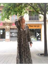 Vestido Largo Negro Estampado