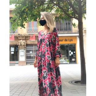 Vestido Largo Flores Fucsia