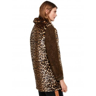 Abrigo Scotch&Soda de leopardo con las mangas en contraste