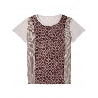 Camiseta con estampado fotográfico y paneles tejidos