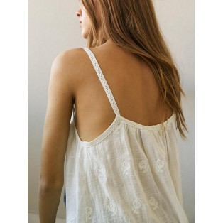 Top Intropia algodón bordado Natural