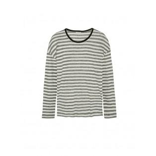 Camiseta Intropia rayas de lino Carbón