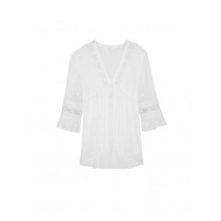 Blusa Intropia encajes bordados y jaretas de algodón blanco