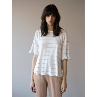 Camiseta Intropia rayas lino y fibra metálica con volantes Blanco