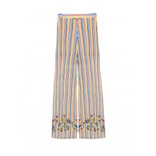 Pantalón Intropia rayas y bordado floral Multicolor