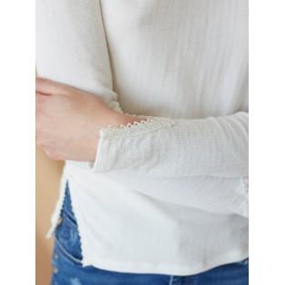 Camiseta manga larga con puntilla Blanca Intropia