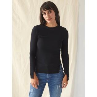 Camiseta manga larga con puntilla Negra Intropia