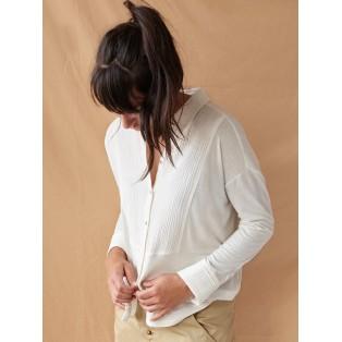 Camiseta combinada camisera de algodón Blanco roto Intropia