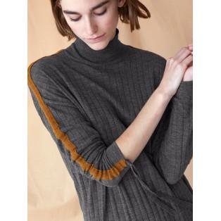 Jersey canalé de lana Gris oscuro Intropia