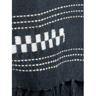 Pañuelo rayas bordadas con hilo metalizado Gris marengo Intropia