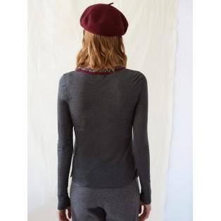 Camiseta bordada modal y cashmere GRIS MARENGO Intropia