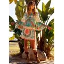 Vestido Corto  con estampado turquesa y coral