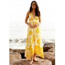 Vestido Largo  estampado con grandes flores amarillas
