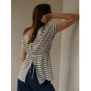 Camiseta Intropia rayas y lazadas de lino