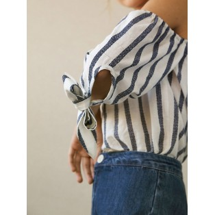 Blusa cut-out rayas de algodón Intropia