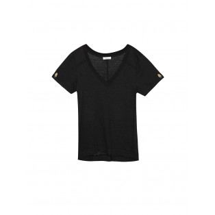 Camiseta escote V mini-bordado Intropia Negra
