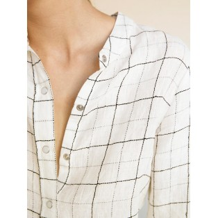 Camisa cuadros de lino Intropia Marfil