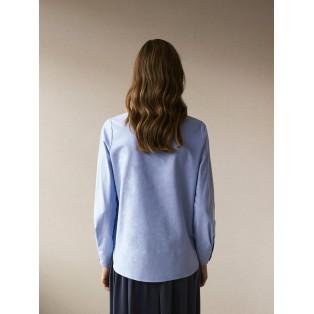 Camisa cruzada de algodón Intropia Azul