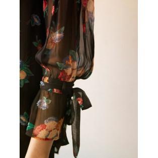 Intropia Blusa flores mangas con lazada