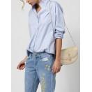 Camisa algodón cuello victoriano Intropia Azul