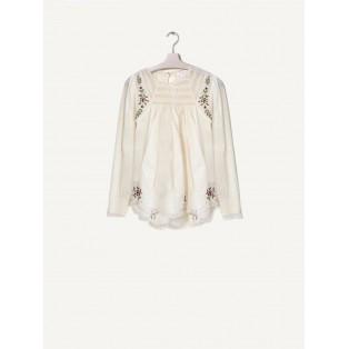 Blusa puntillas y flores bordadas de algodón Intropia