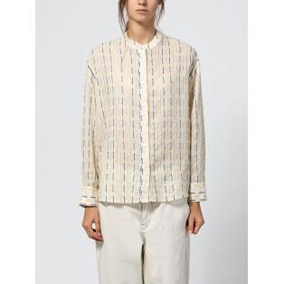 Camisa algodón calados y contraste de hilos Intropia