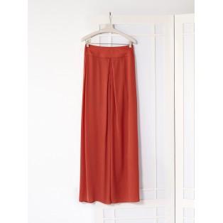 Maxi falda pliegue satinada Intropia Coral